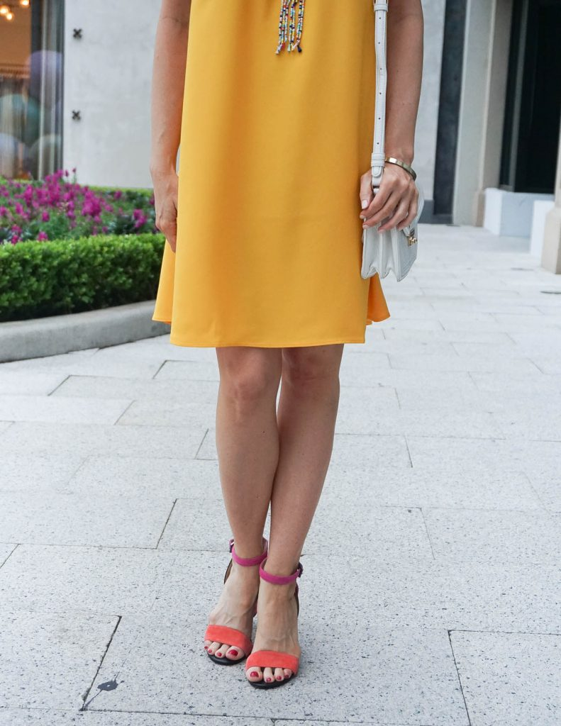Summer Outfit | Yellow Dress | Pink Block Heel Sandals | Houston Fashion Blogger Lady in Violet