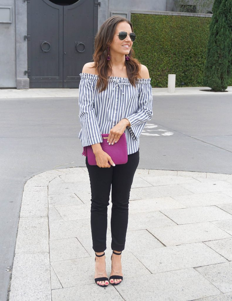 Spring Weekend Outfit | Blue Striped Top | Black Jeans | Houston Fashion Blogger Lady in Violet