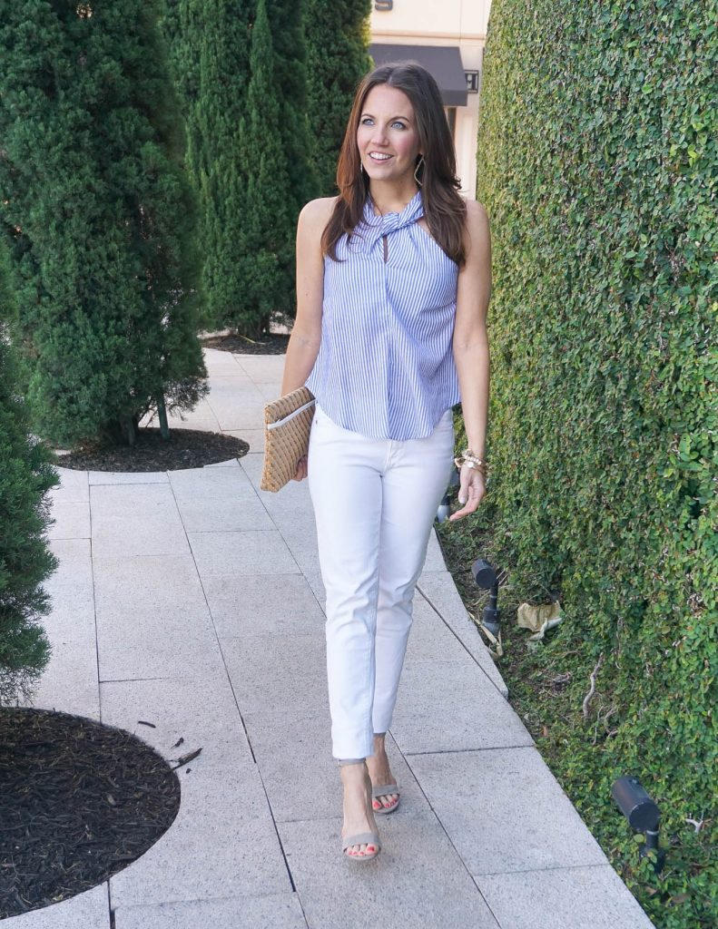 Summer Outfit | Blue Halter Top | White Jeans | Houston Fashion Blogger Lady in Violet