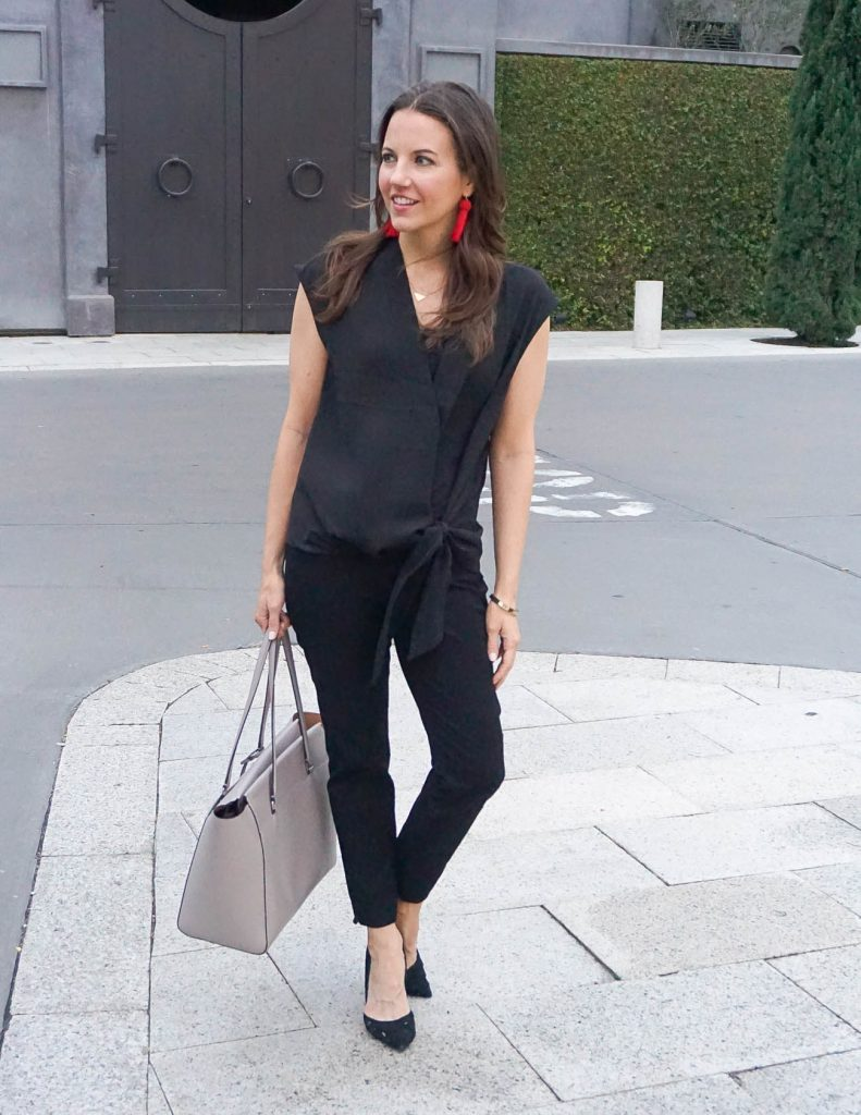 Work Outfit | Black Ankle Pants | Black Blouse | Houston Fashion Blogger Lady in Violet