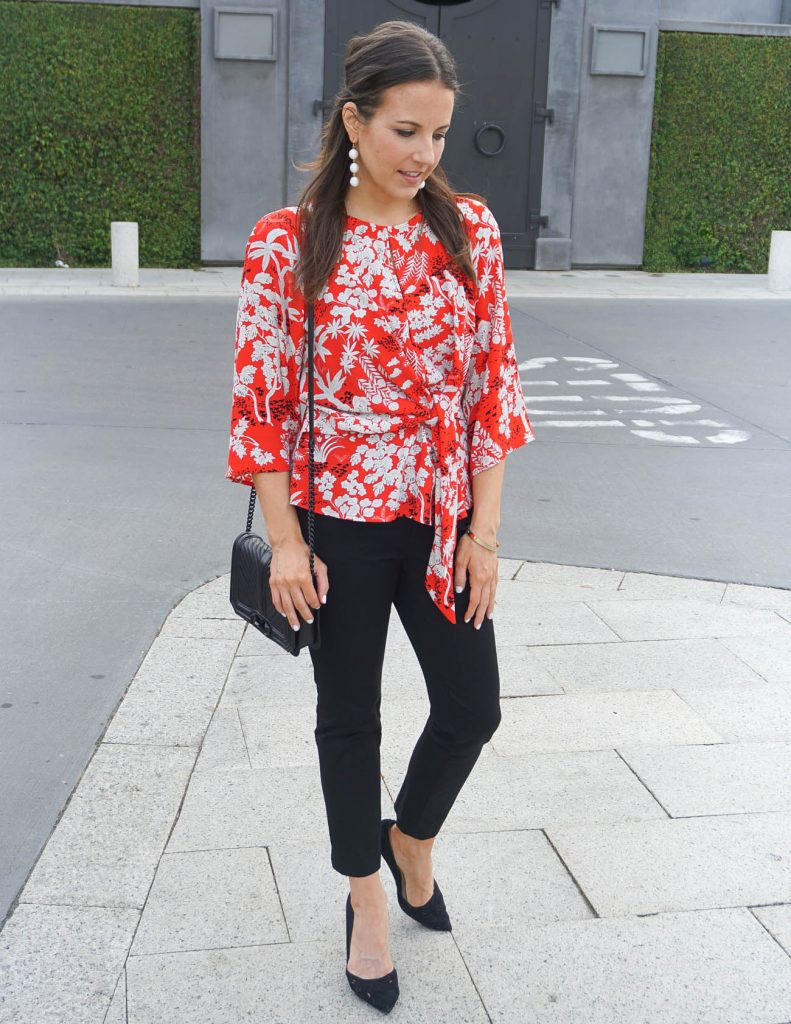 Work Outfit | Red Floral Blouse | Black Skinny Pants | Houston Fashion Blogger Lady in Violet