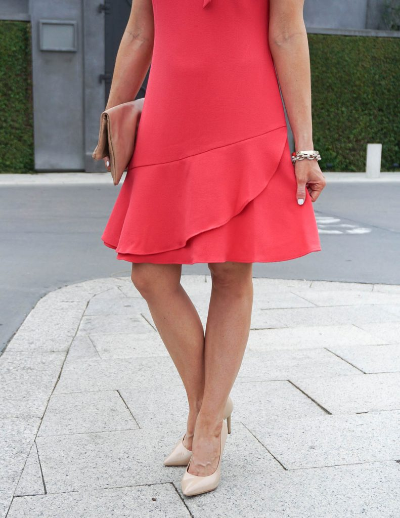 Spring Fashion | Coral Ruffle Hem Dress | Gold Bracelet Set | Houston Fashion Blogger Lady in Violet