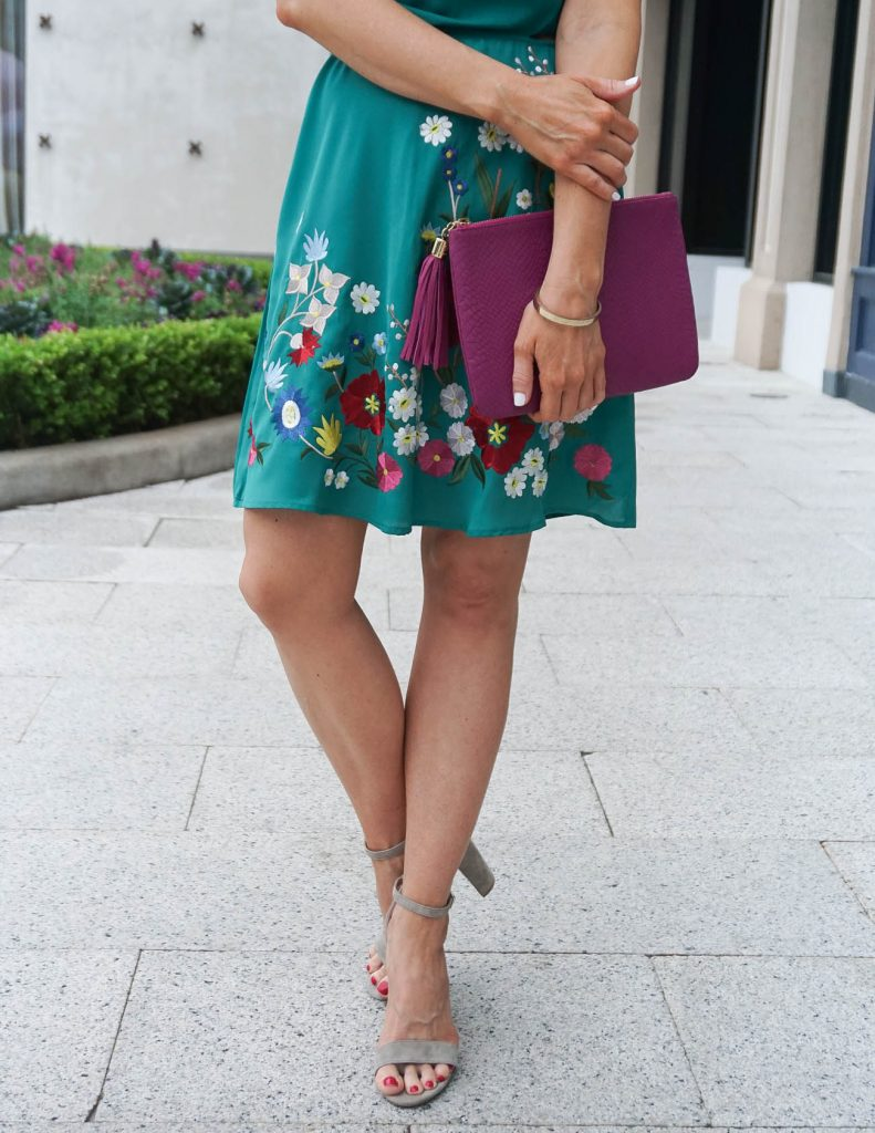 Spring Outfit | Green Floral Dress | Taupe Block Heel Sandals | Houston Fashion Blogger Lady in Violet
