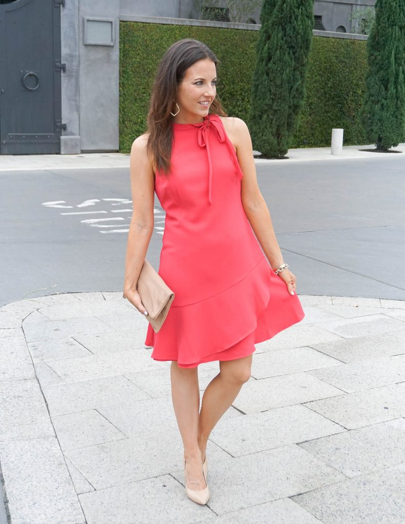 Spring Outfit | Coral Dress | Neutral Clutch | Houston Fashion Blogger Lady in Violet