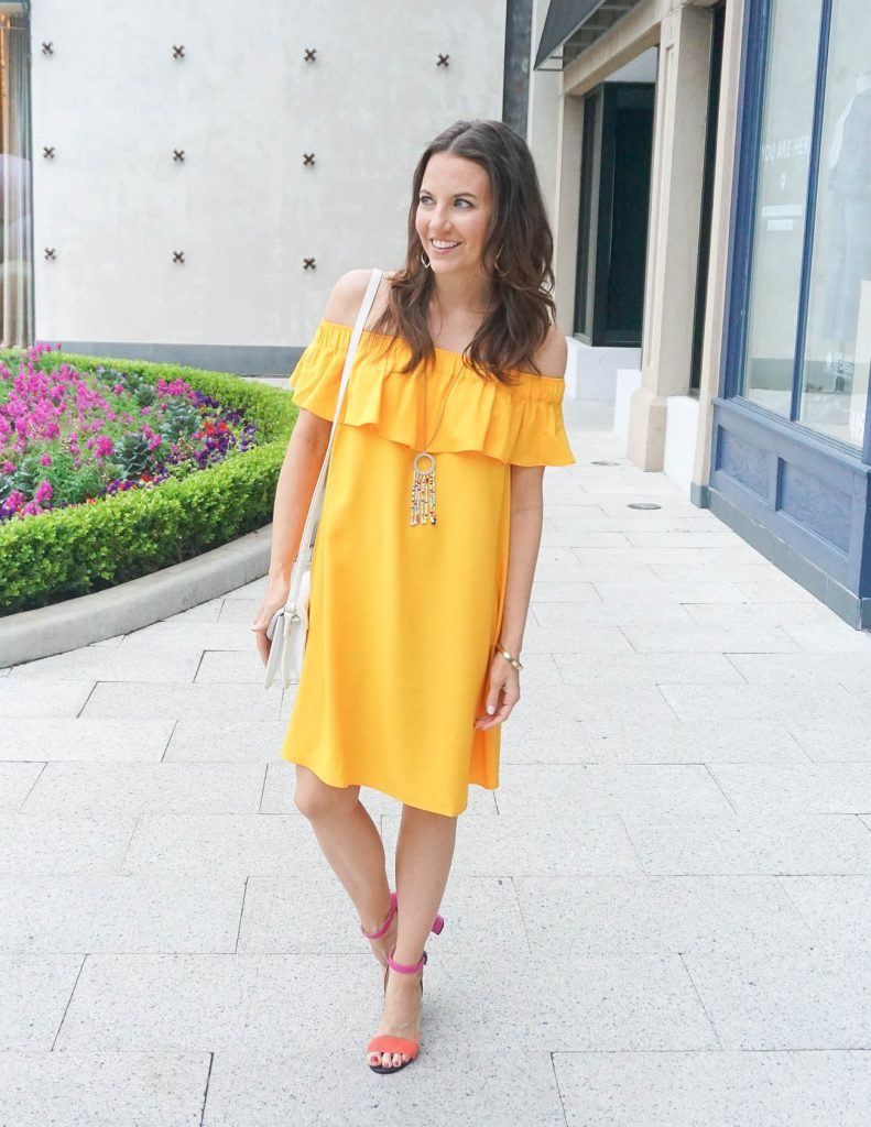 Summer Fashion | Date Night Outfit | Yellow Off the Shoulder Dress | Houston Fashion Blogger Lady in Violet