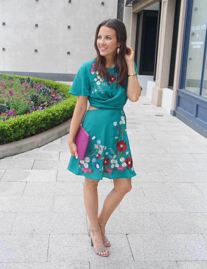 Summer Wedding Outfit | Teal Floral Dress | Block Heel Sandals | Houston Fashion Blogger Lady in Violet