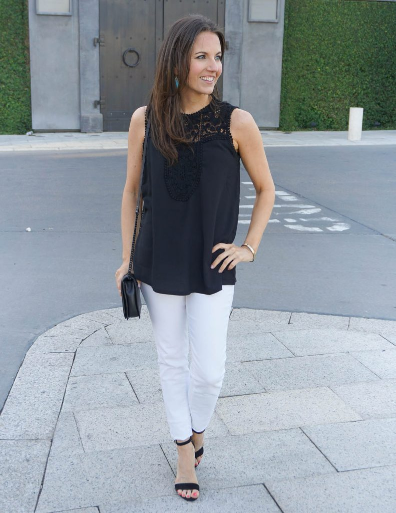 Spring Fashion | Black Lace Top | White Skinny Jeans | Houston Fashion Blogger Lady in Violet