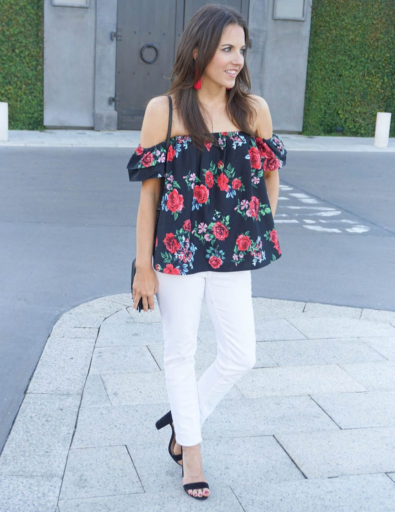 Summer Outfit | Floral Off the Shoulder Top | White jeans | Houston Fashion Blogger Lady in Violet