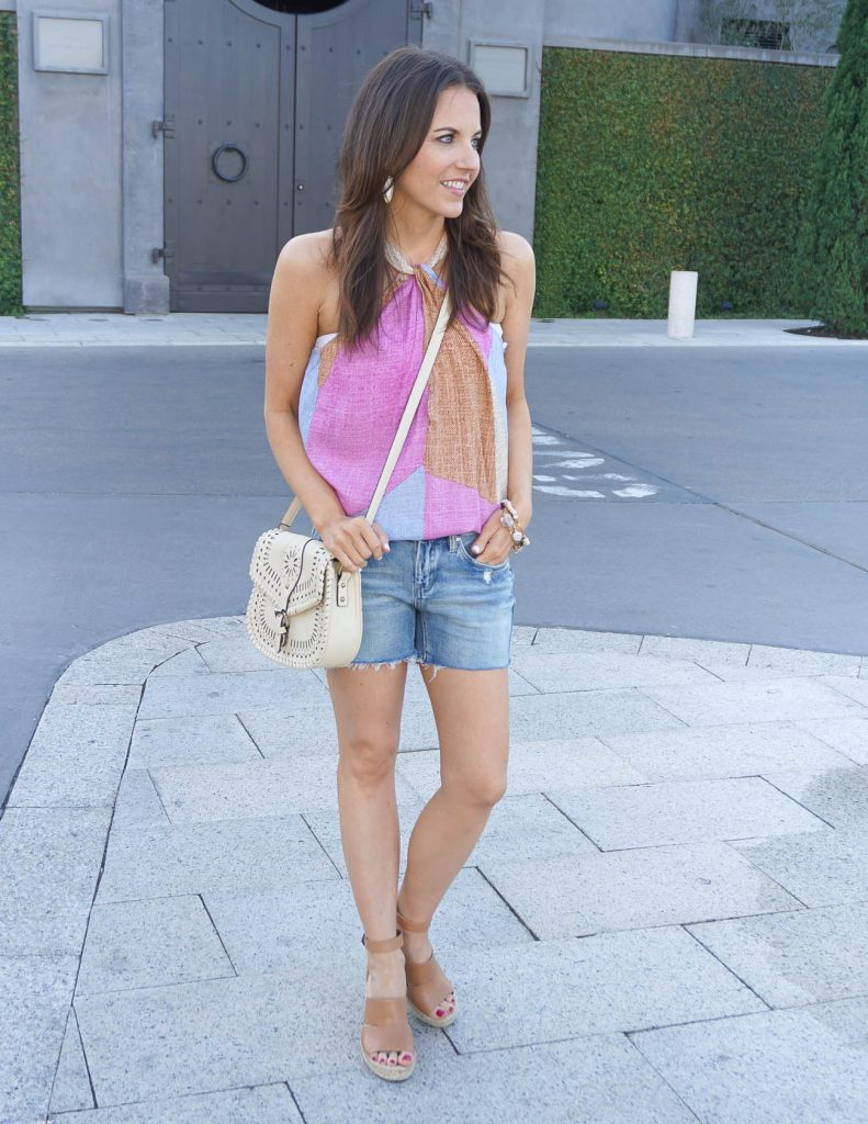 Summer Outfit | Halter Top | Distressed Shorts | Houston Fashion Blogger Lady in Violet