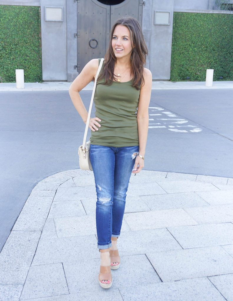 Summer Outfit | Olive Green Tank Top | Distressed Jeans | Houston Fashion Blogger Lady in Violet