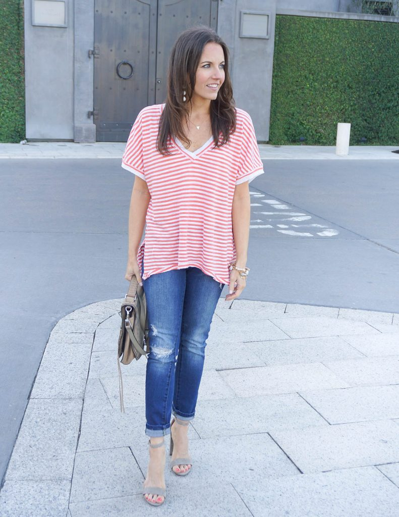 Summer Outfit | Oversized Striped Tee | Distressed Jeans | Houston Fashion Blogger Lady in Violet