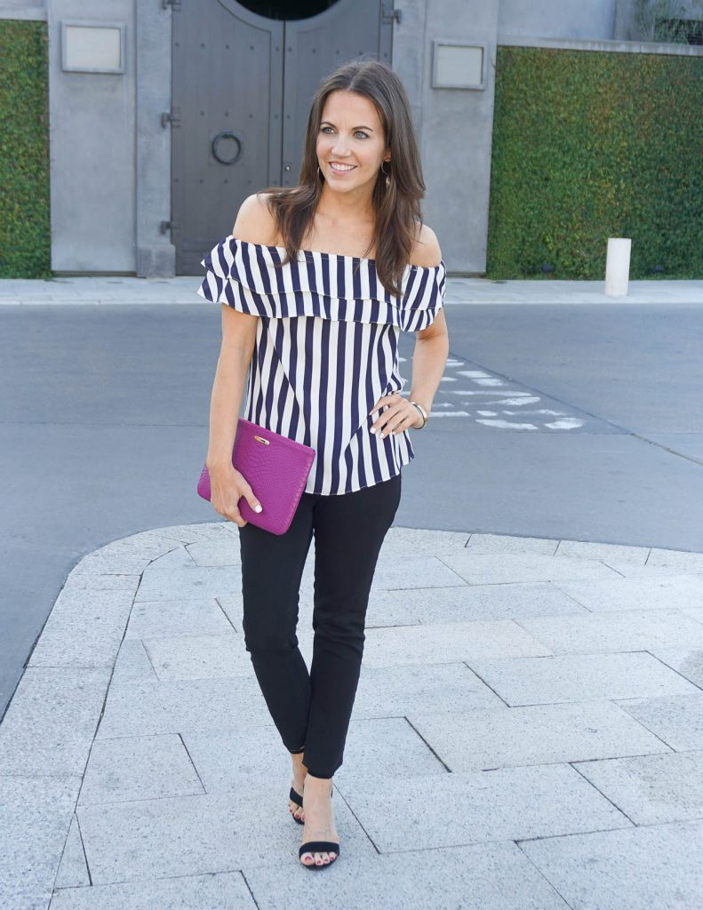 Summer Outfit | Striped Off the Shoulder Top | Black Skinny Jeans | Houston Fashion Blogger Lady in Violet