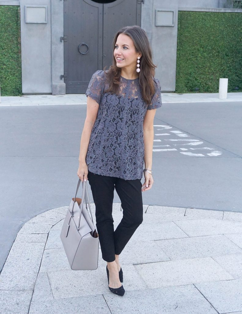 Work Outfit | Gray Lace Blouse | Black Slacks | Houston Fashion Blogger Lady in Violet