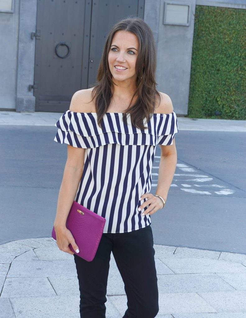 Date Night Outfit | Dark Pink Clutch | Off the Shoulder Top | Houston Fashion Blogger Lady in Violet