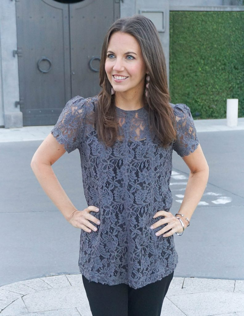 Spring Outfit | Gray Lace Top for Work | Houston Fashion Blogger Lady in Violet