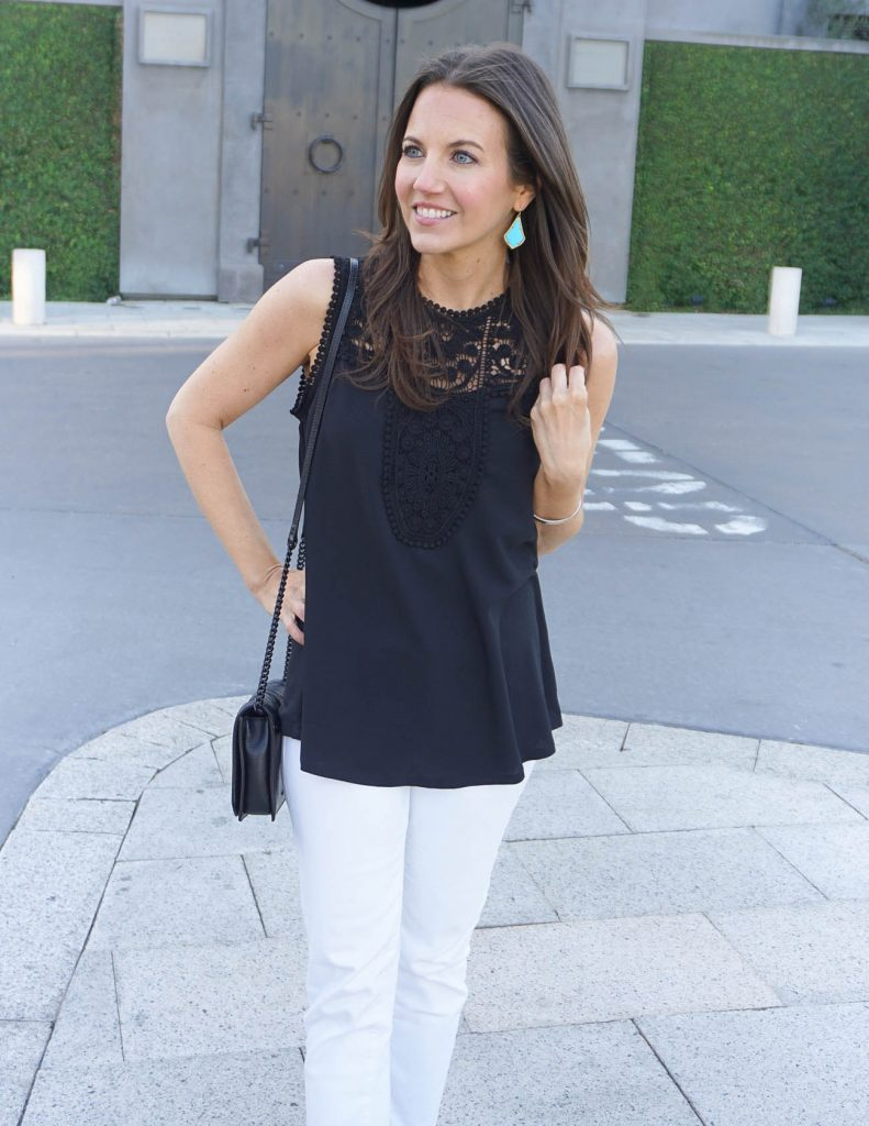 Summer Outfit | Black Lace Top | Turquoise Earrings | Houston Fashion Blogger Lady in Violet