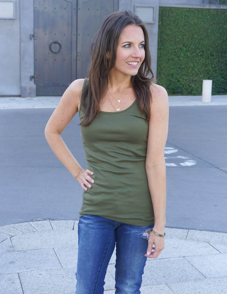 Summer Wardrobe Basics | Olive Tank Top | Layered Necklaces | Houston Fashion Blogger Lady in Violet