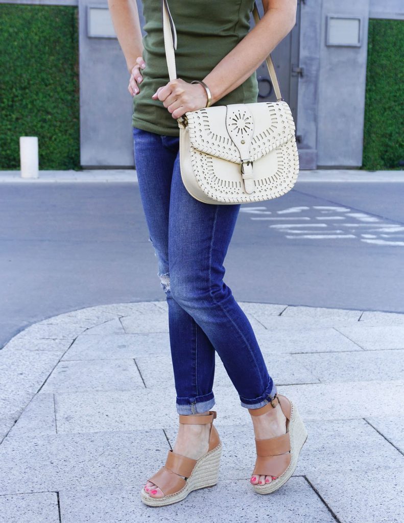 Casual Outfit | Distressed Jeans | Cognac Brown Wedges | Houston Fashion Blogger Lady in Violet
