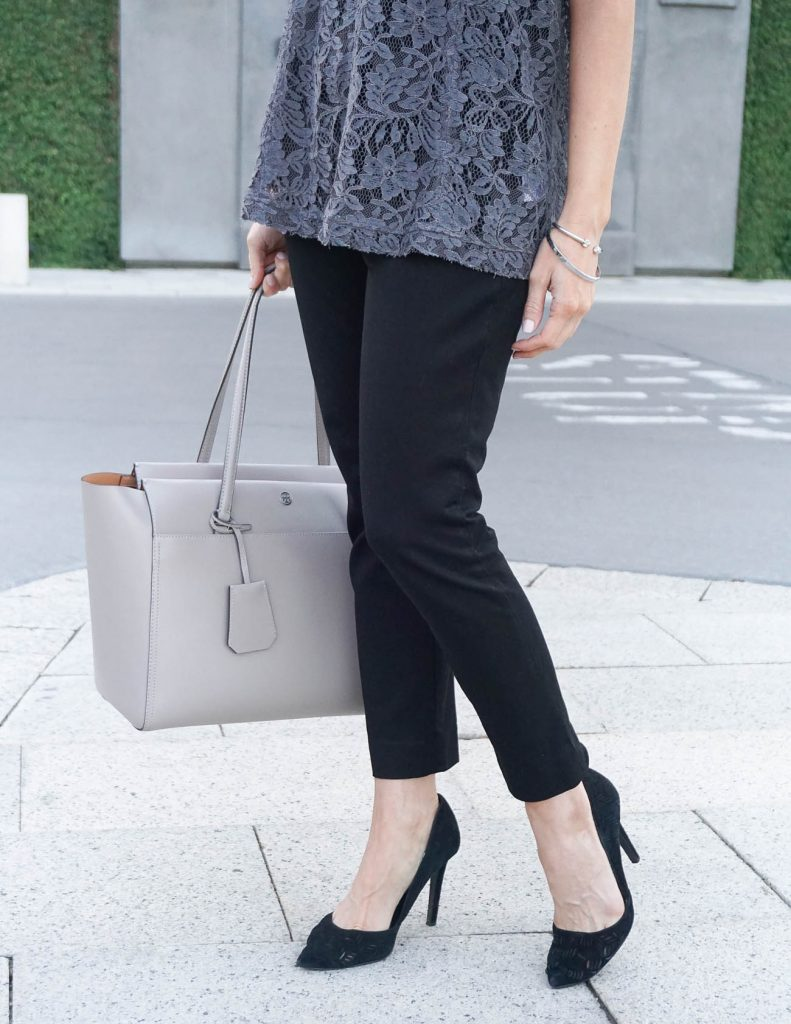 Office Outfit | Black Ankle Pants | Tory Burch Tote | Houston Fashion Blogger Lady in Violet
