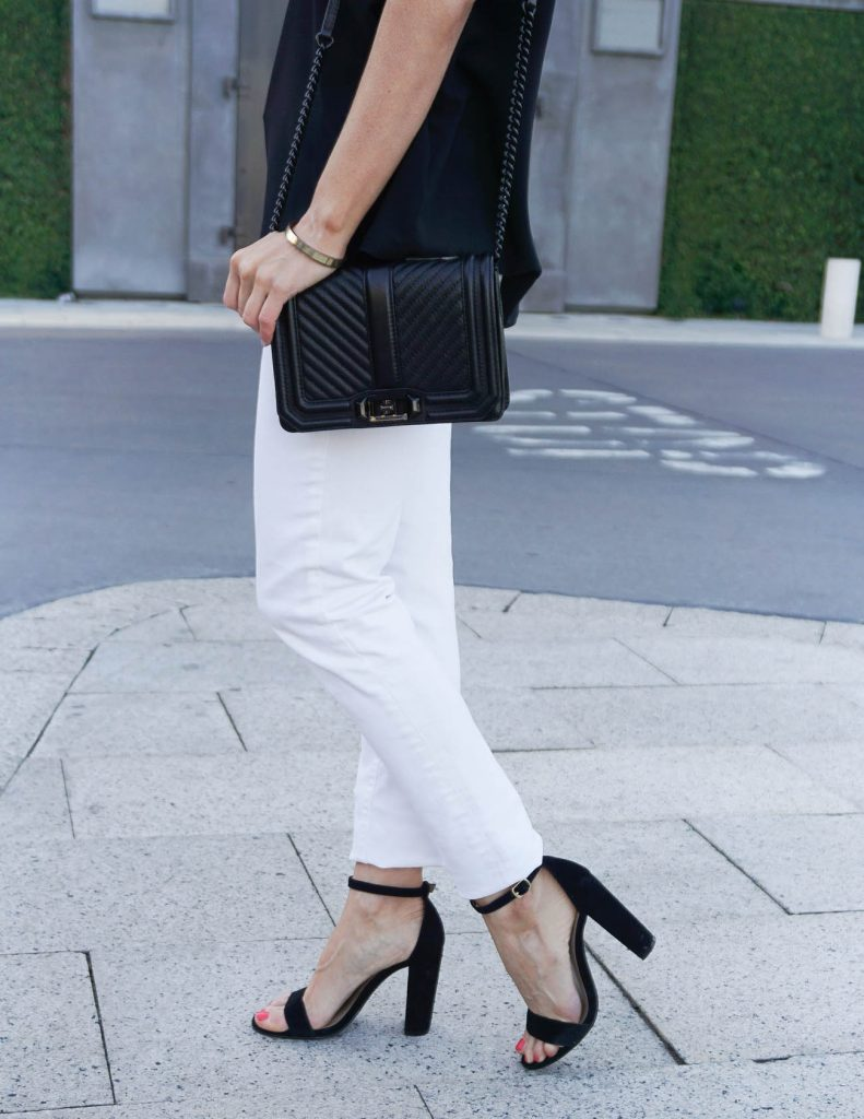 Spring Outfit | Block Heel Sandals | White Jeans | Houston Fashion Blogger Lady in Violet