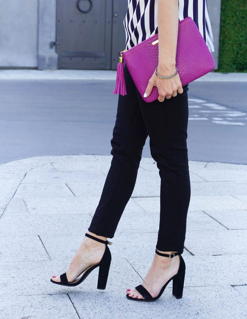 Summer Outfit | Black Skinny Jeans | Block Heel Sandals | Houston Fashion Blogger Lady in Violet