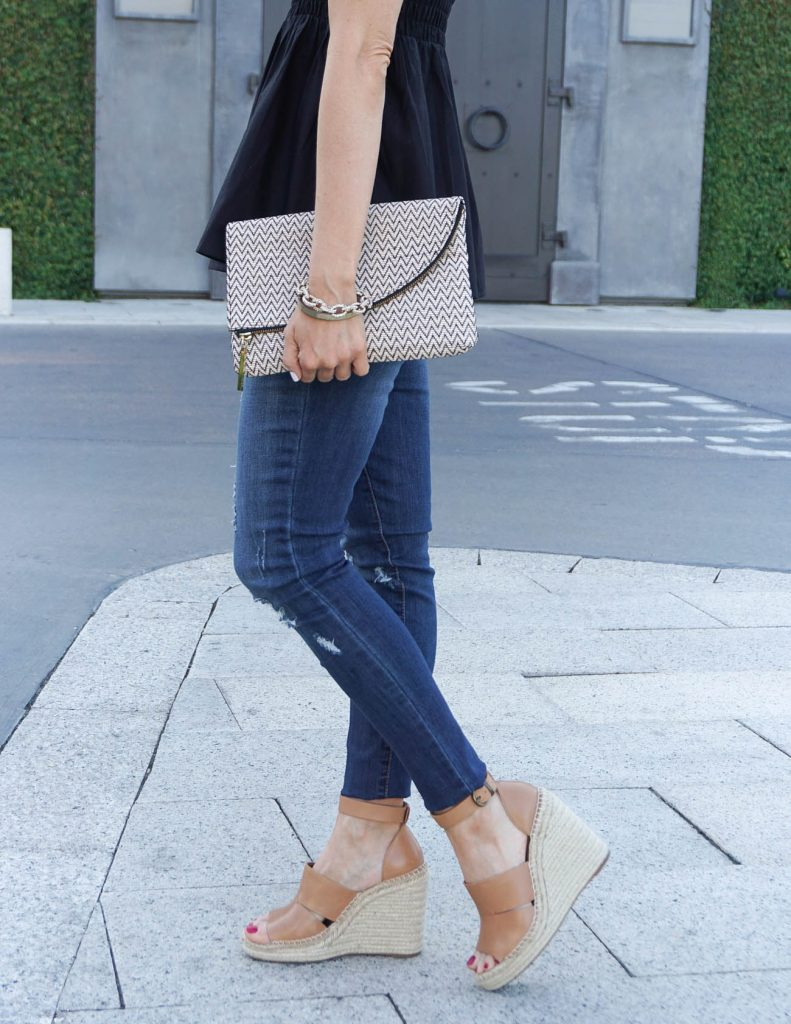 Summer Outfit | Distressed Jeans | Cognac Brown Wedges | Houston Fashion Blogger Lady in Violet
