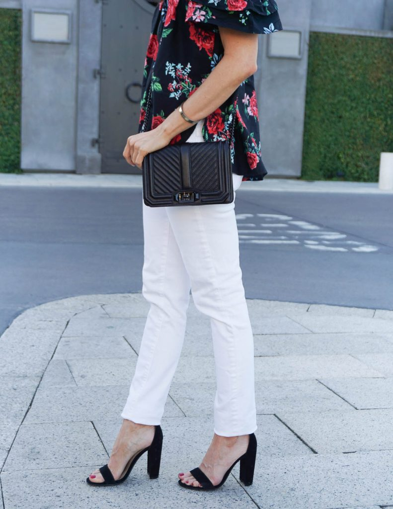 Summer Outfit | White Skinny Jeans | Block Heel Sandals | Houston Fashion Blogger Lady in Violet
