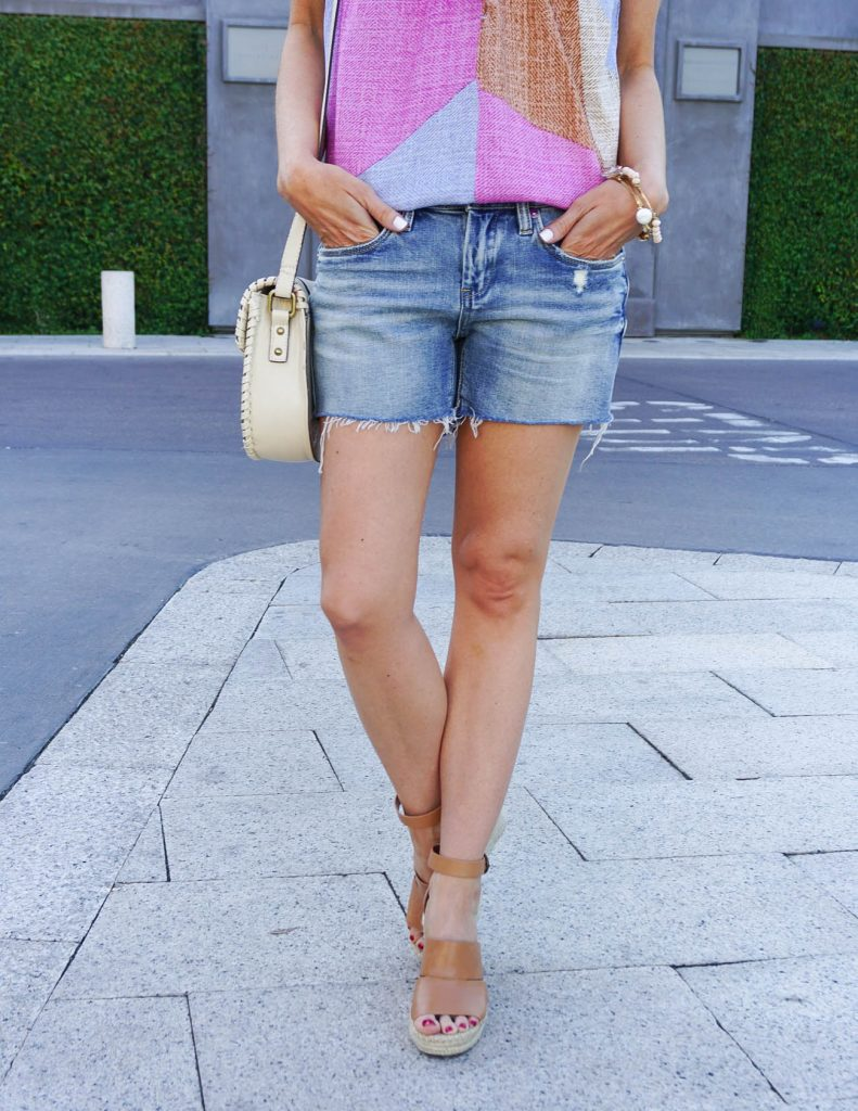 Weekend Outfit | Distressed Denim Shorts | Cognac Brown Wedges | Houston Fashion Blogger Lady in Violet