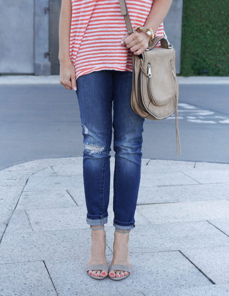 Weekend Outfit | Distressed Skinny Jeans | Taupe Block Heel Sandals | Houston Fashion Blogger Lady in Violet