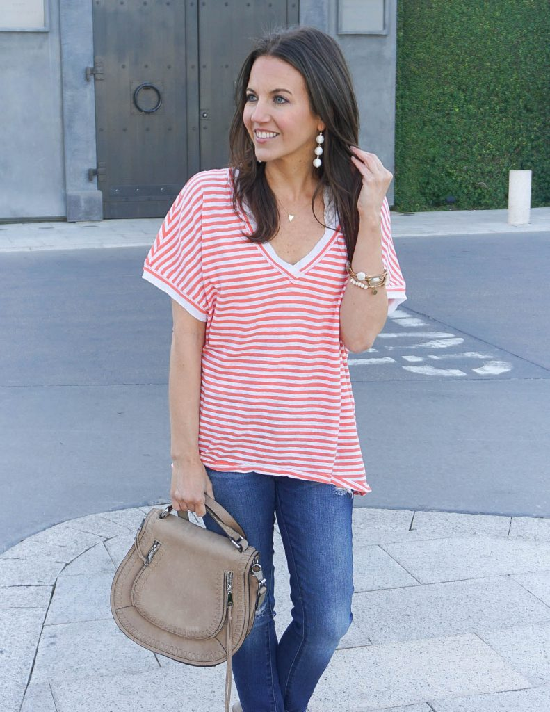 Summer Outfit | Oversized Striped Tee | White Ball Earrings | Houston Fashion Blogger Lady in Violet