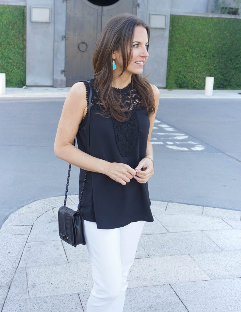 Summer Outfit | Sleeveless Black Top | Rebecca Minkoff Love Bag | Houston Fashion Blogger Lady in Violet