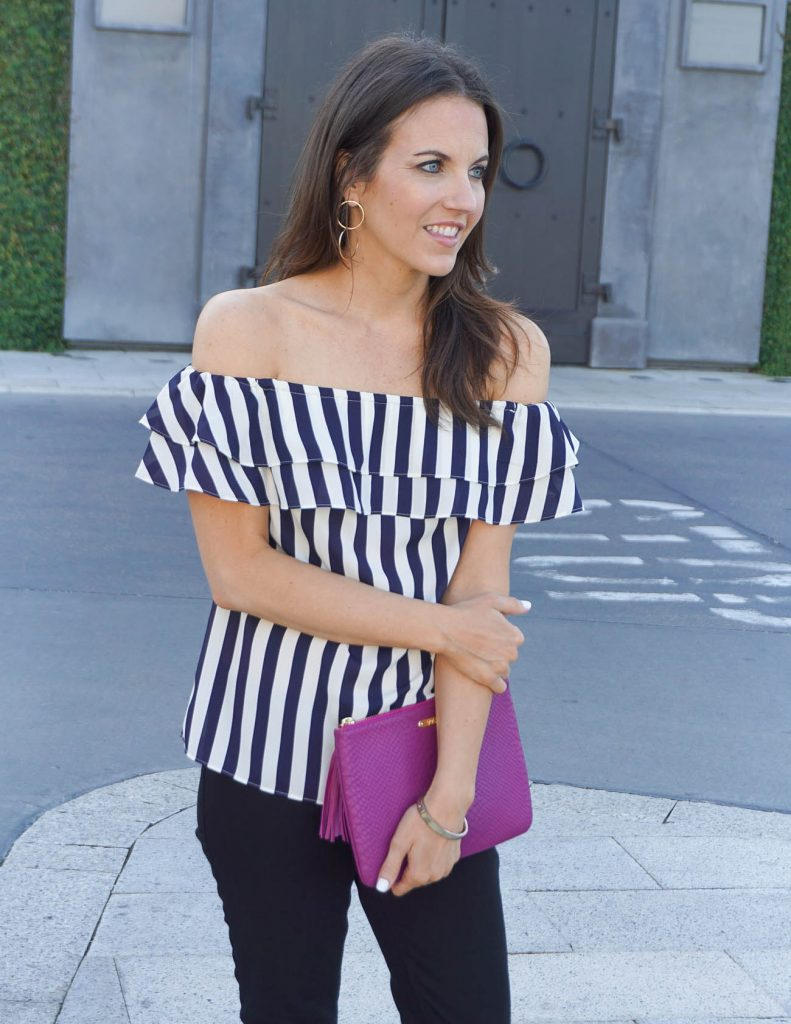 Summer Outfit | Ruffle Off the Shoulder Top | Double Hoop Earrings | Houston Fashion Blogger Lady in Violet