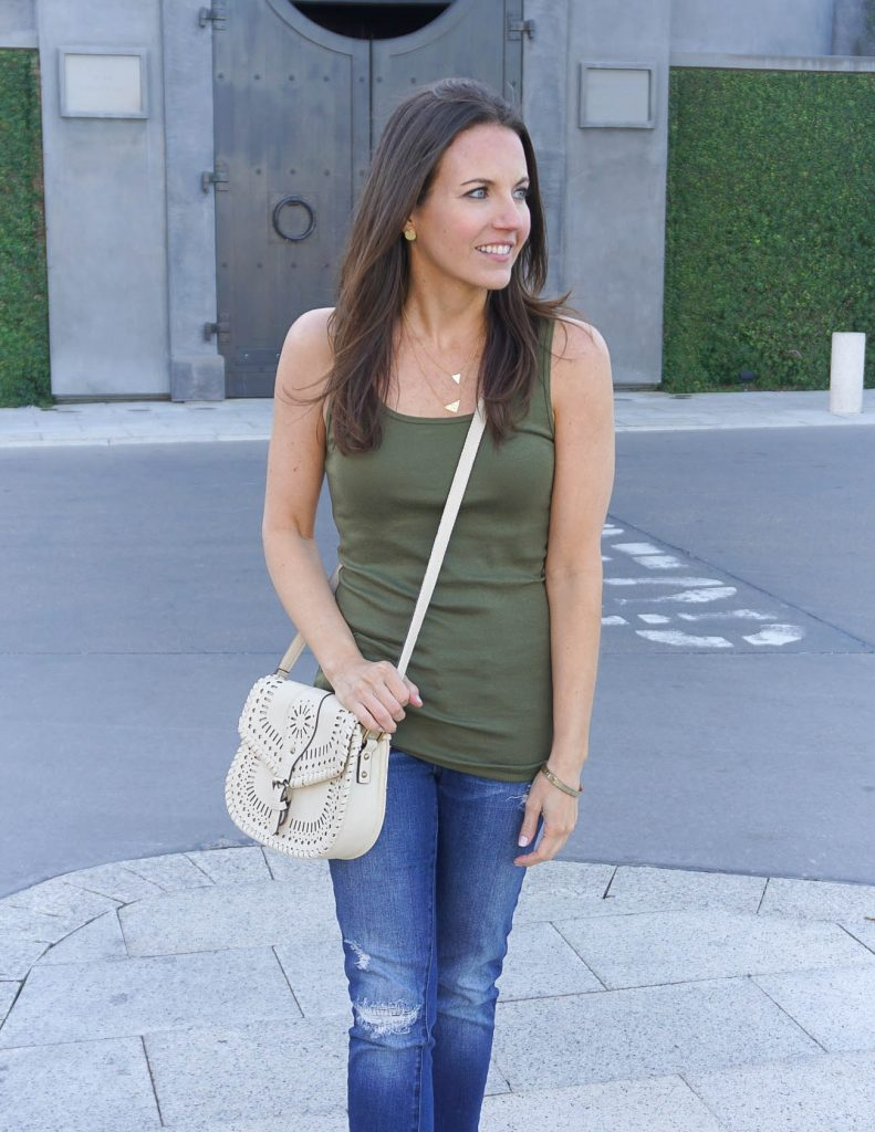 Summer Weekend Outfit | Olive Tank Top | Ivory Crossbody Bag | Houston Fashion Blogger Lady in Violet