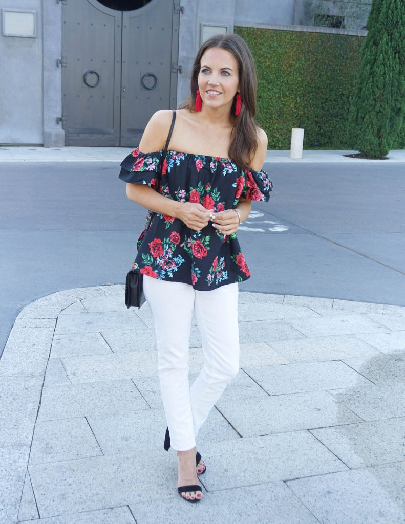 Spring Outfit | Floral Off the Shoulder Top | White Jeans | Houston Fashion Blogger Lady in Violet