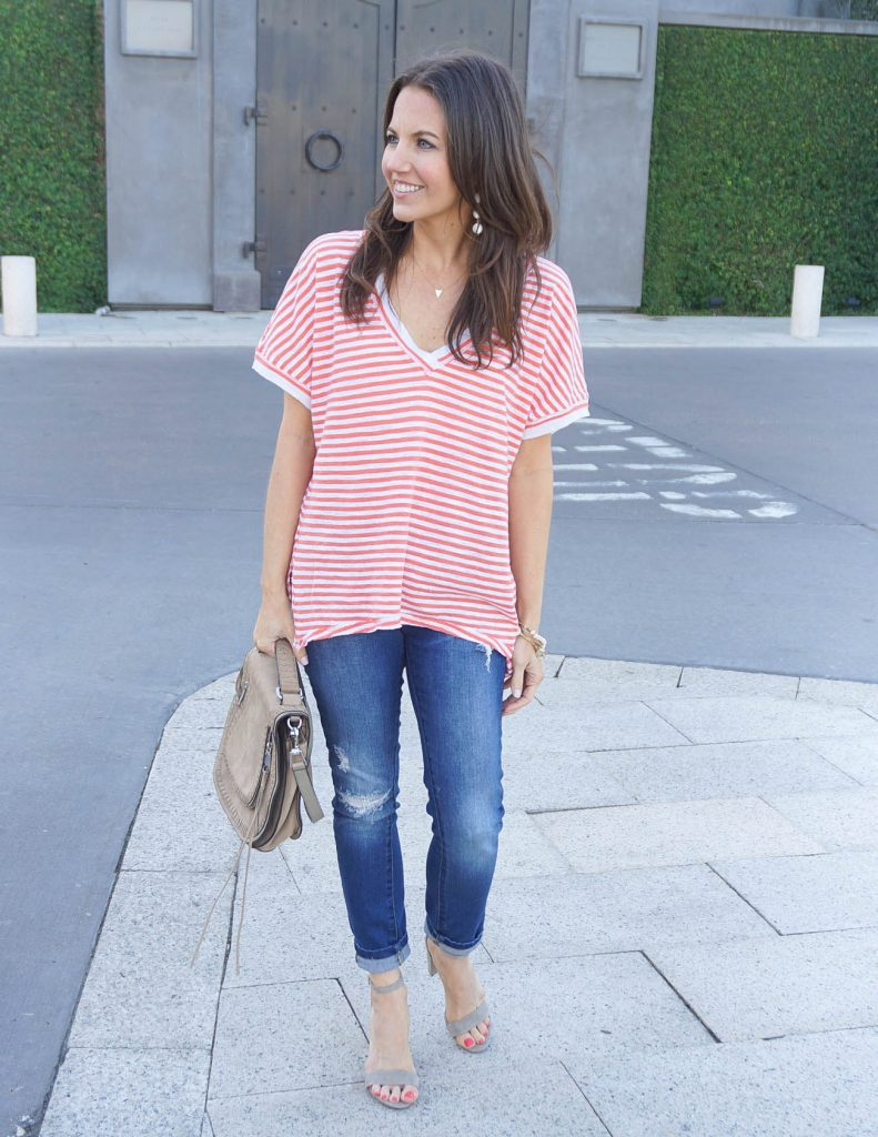 Spring Outfit | Striped Tee | Distressed Skinny Jeans | Houston Fashion Blogger Lady in Violet