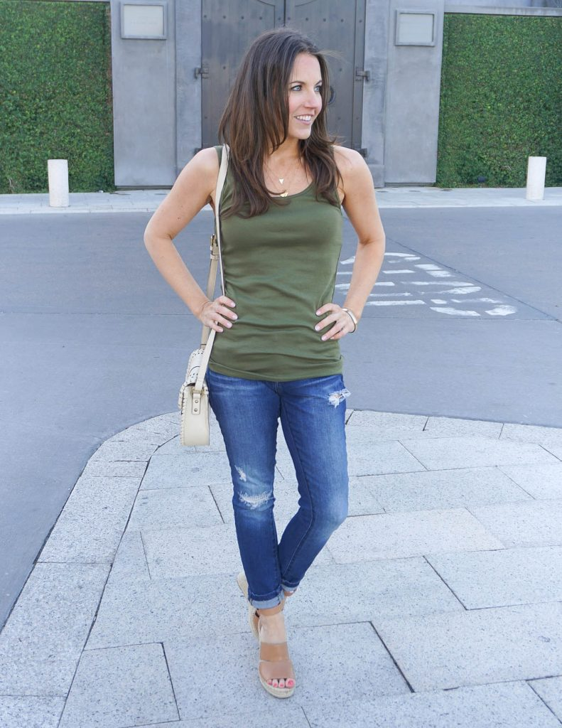 Summer Outfit | Green Tank Top | Distressed Jeans | Houston Fashion Blogger Lady in Violet