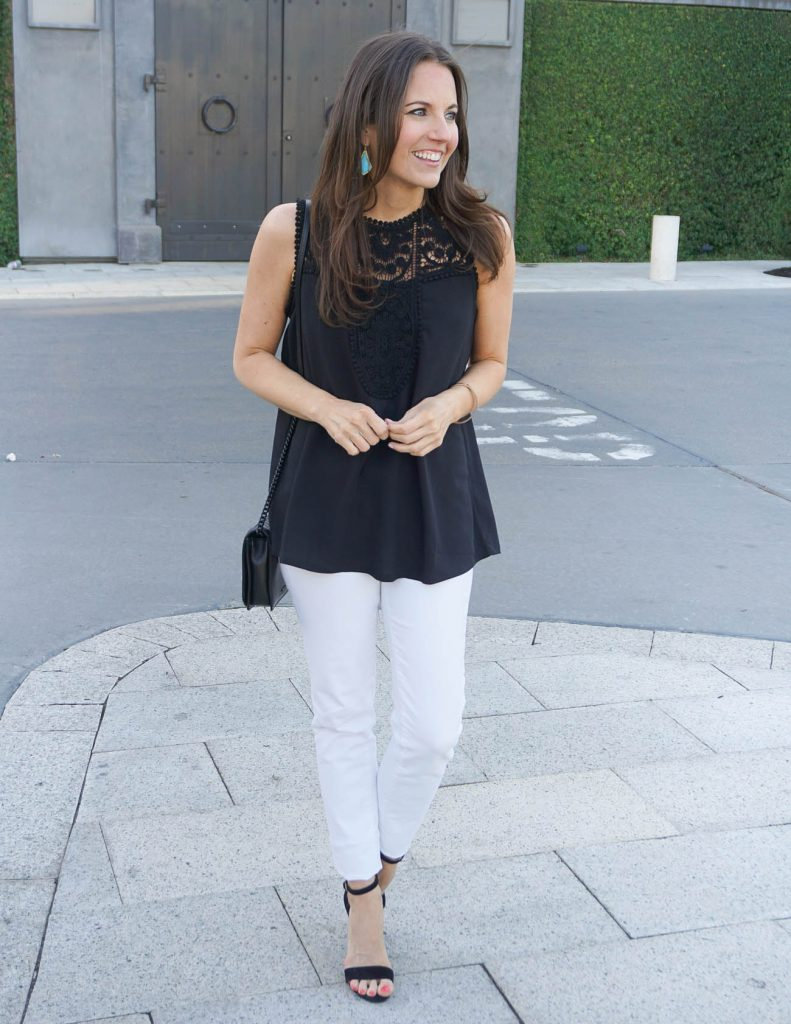 Weekend Outfit | Black Lace Top | White Skinny Jeans | Houston Fashion Blogger Lady in Violet