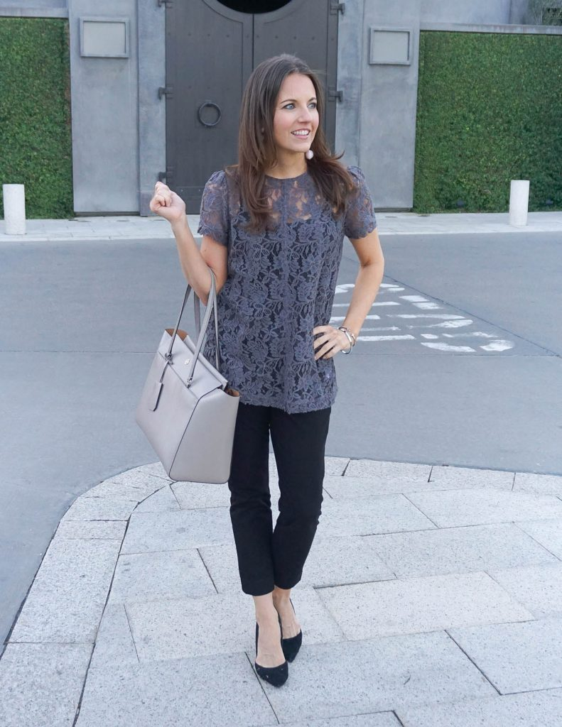 Workwear | Gray Lace Blouse | Black Ankle Pants | Houston Fashion Blogger Lady in Violet