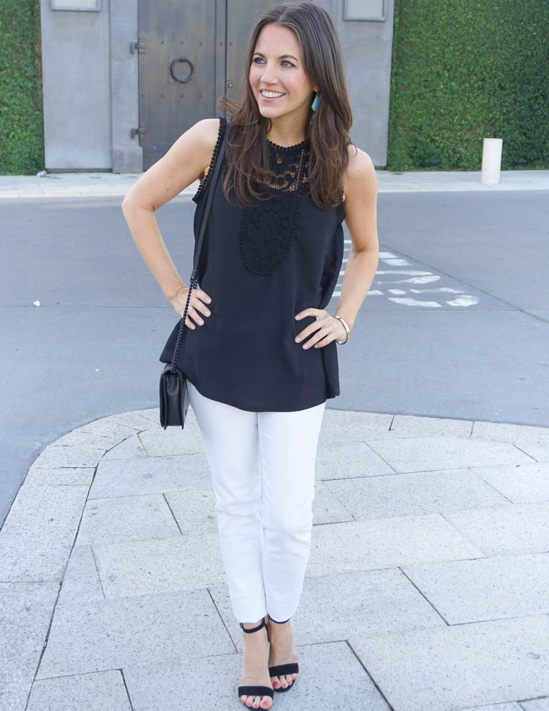 Casual Outfit | Black Sleeveless Top | White Skinny Jeans | Houston Fashion Blog Lady in Violet