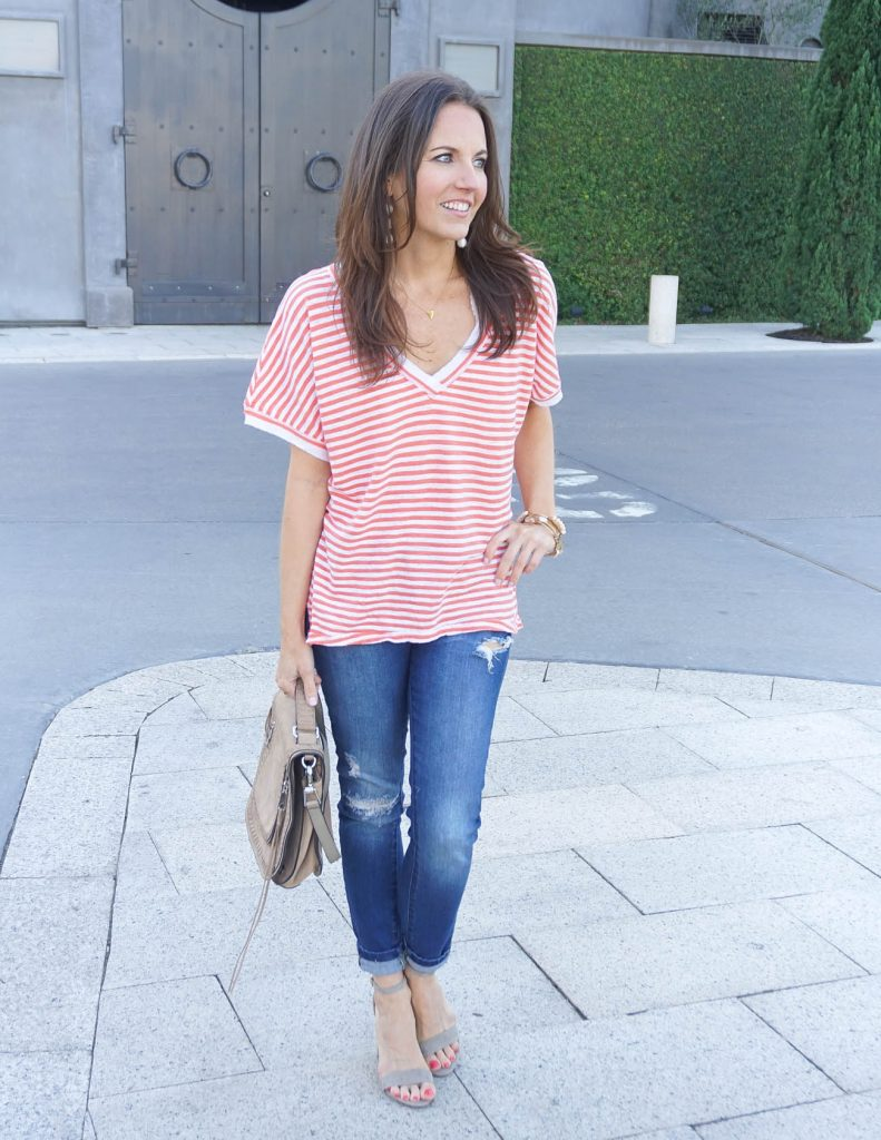 Casual Outfit | Oversized Striped Tee | Block Heel Sandals | Houston Fashion Blogger Lady in Violet