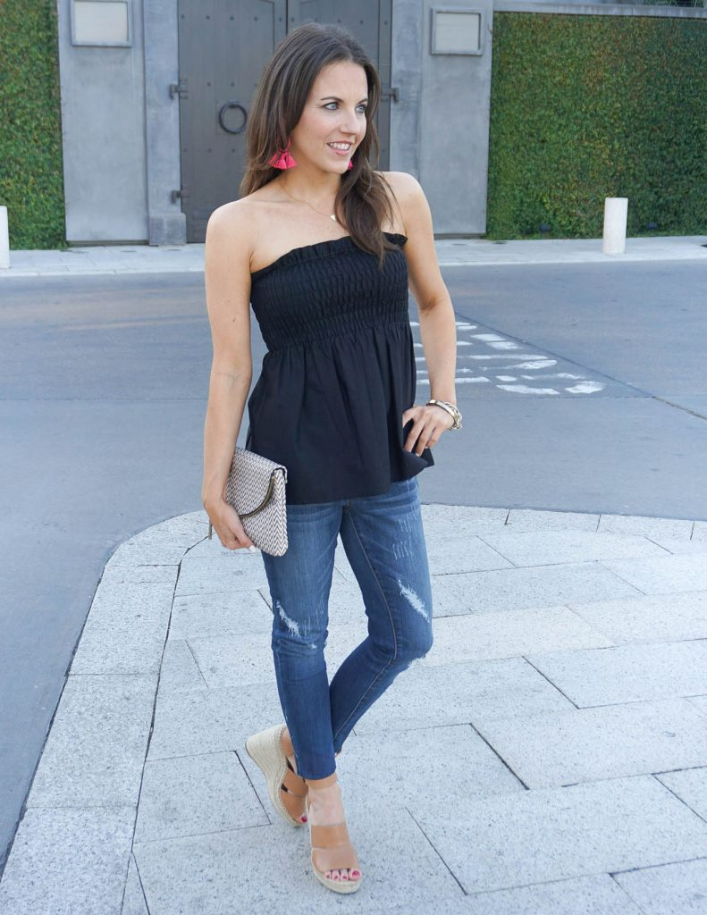 Casual Summer Outfit | Black Tube Top | Distressed Jeans | Houston Fashion Blogger Lady in Violet