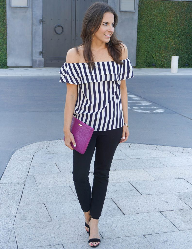 Dressy Casual Outfit | Striped Off the Shoulder Top | Black Skinny Jeans | Houston Fashion Blogger Lady in Violet
