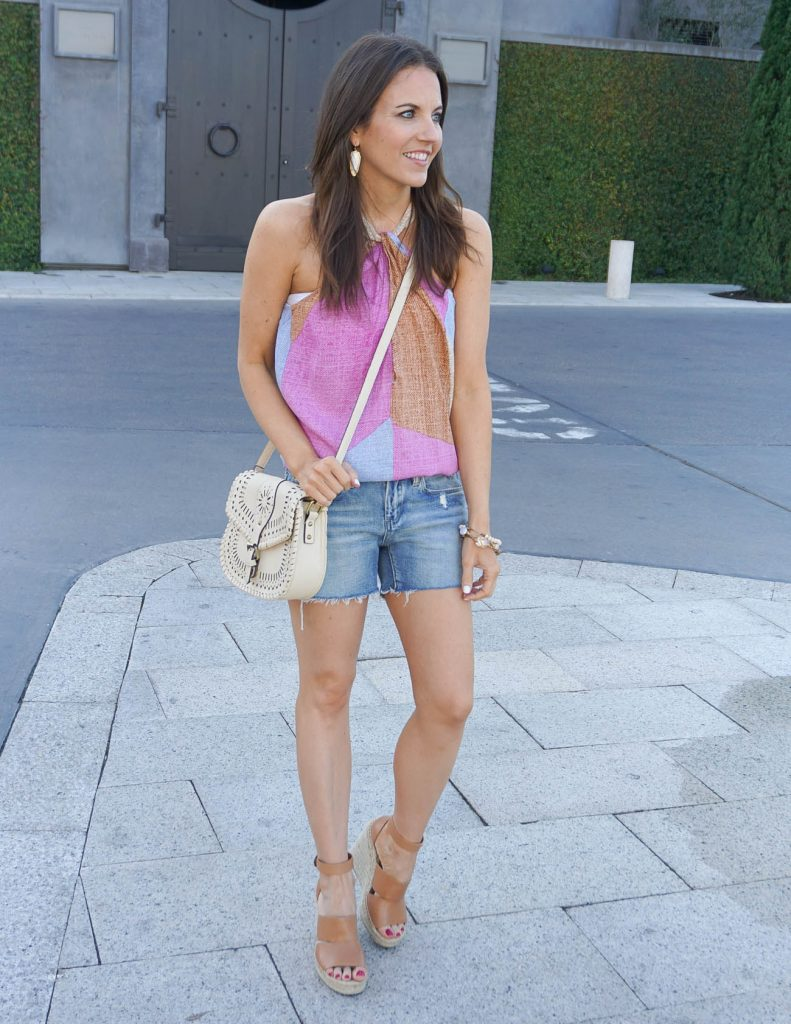 Summer Outfit | Ivory Crossbody Bag | Jean Shorts | Houston Fashion Blogger Lady in Violet