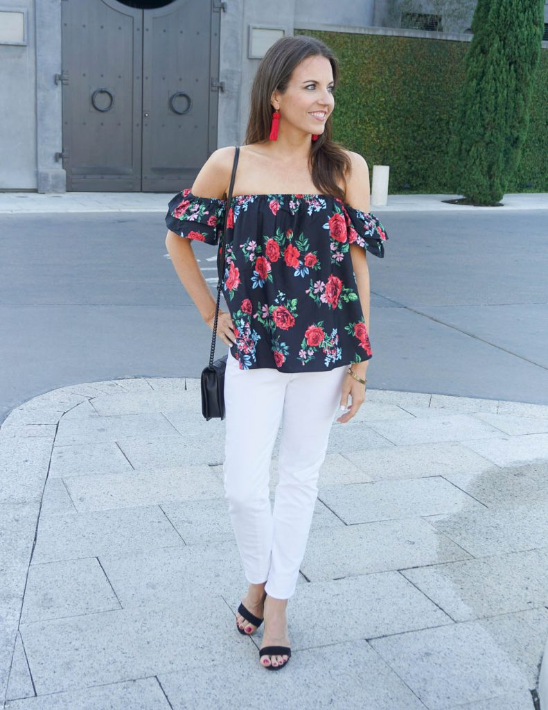 Summer Outfit | Off the Shoulder Top | Block Heel Sandals | Houston Fashion Blogger Lady in Violet