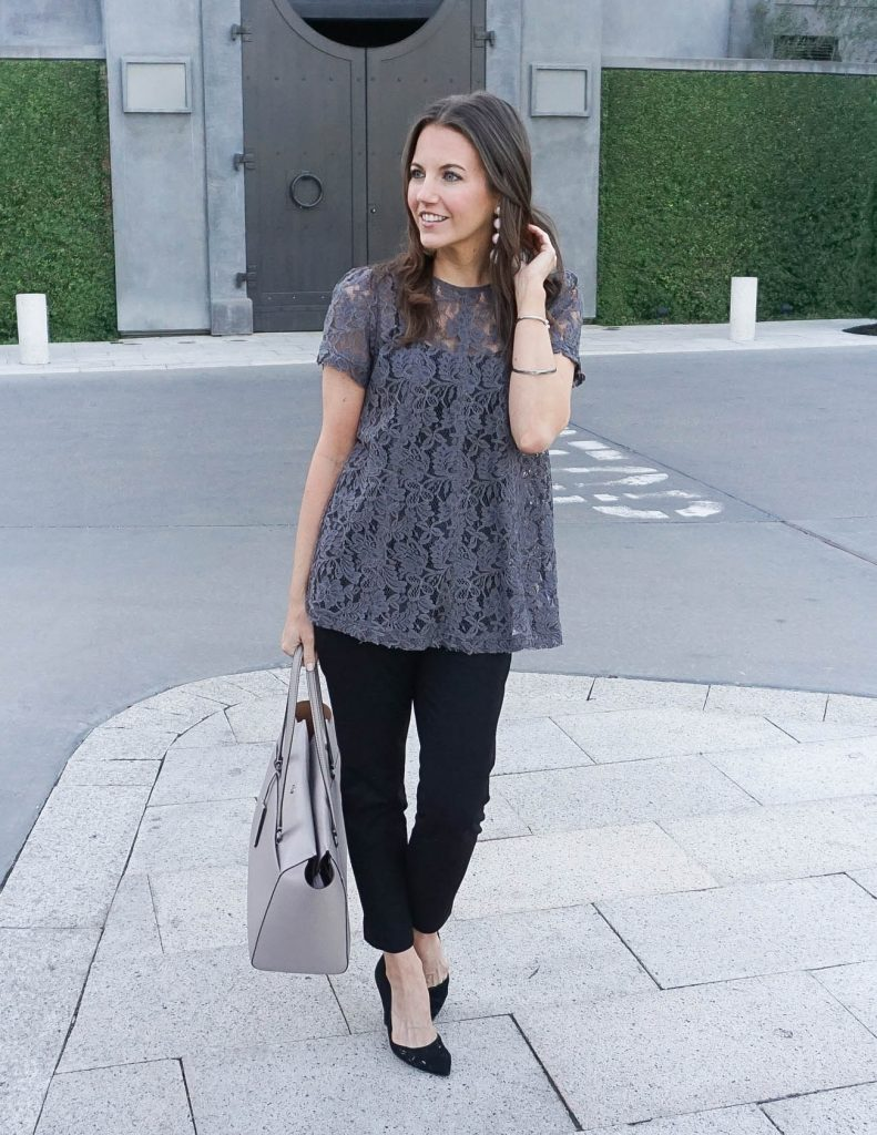 Work Outfit | Gray Lace Blouse | Black Pants | Houston Fashion Blogger Lady in Violet