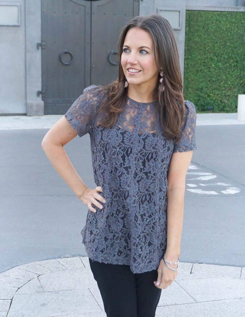 Spring Outfit | Lace Top | Statement Earrings | Houston Fashion Blogger Lady in Violet
