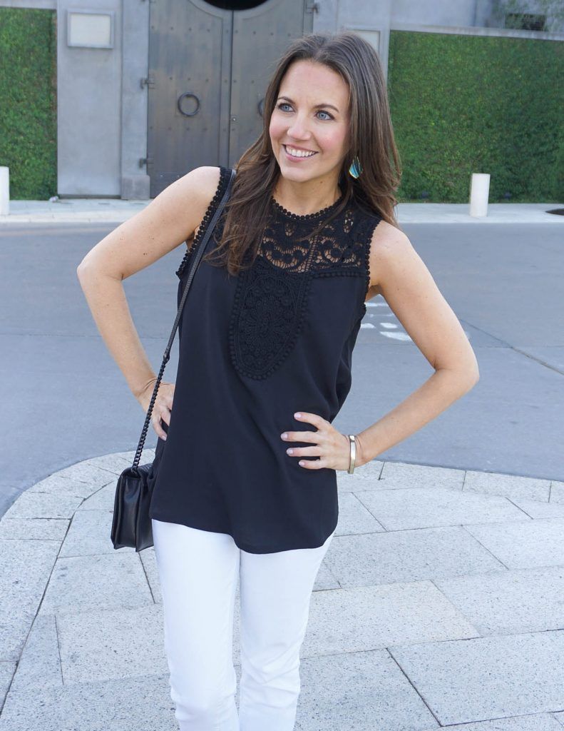 Summer Outfit Idea | Black Lace Top | Kendra Scott Earrings | Houston Fashion Blogger Lady in Violet