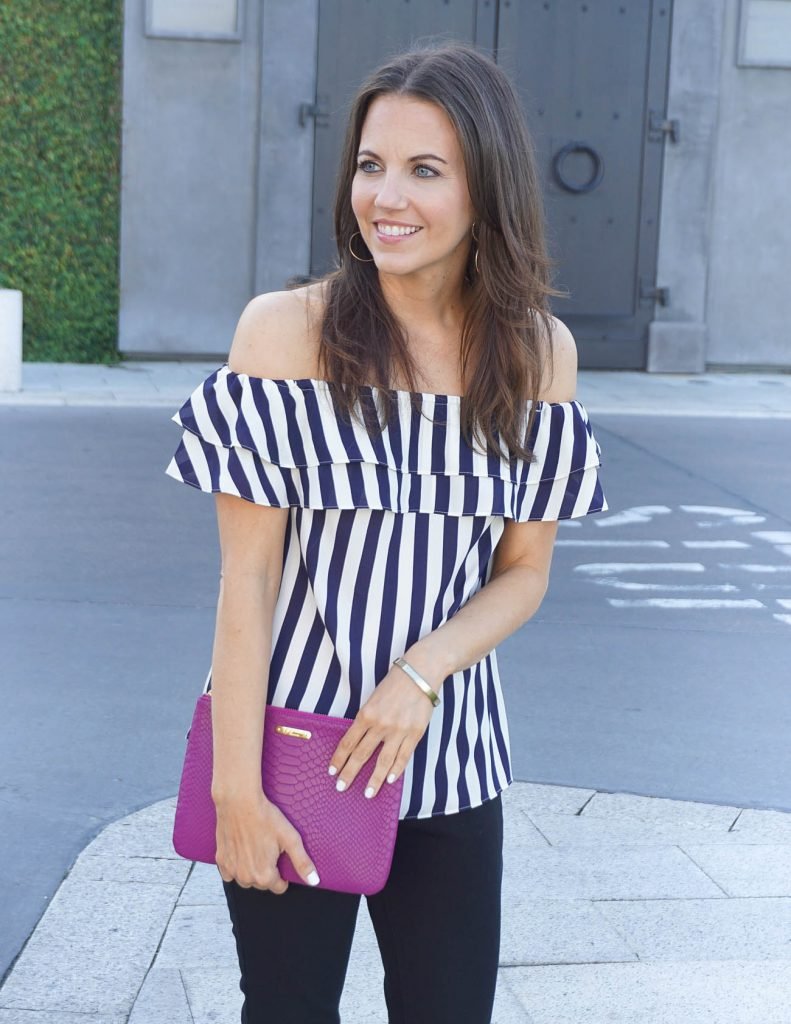 Summer Outfit | Striped OTS Top | Dark Pink clutch | Houston Fashion Blogger Lady in Violet
