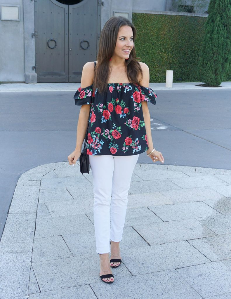 Date Night Outfit | Floral Off the Shoulder Top | White Skinny Jeans | Houston Fashion Blogger Lady in Violet
