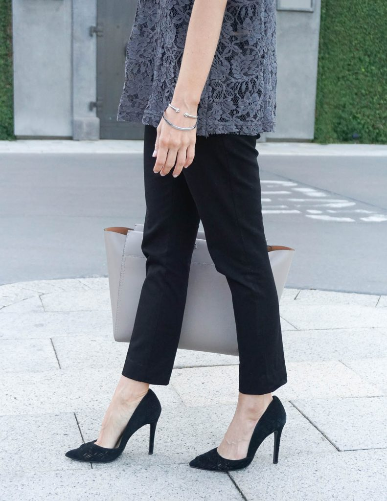 Office Outfit | Black Work Pants | D'orsay Heels | Houston Fashion Blogger Lady in Violet